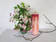 Pink harmony soy pillar candle, scented pink ecofriendly candle, pink abstract soy  candle, wedding candles, Valentine's Day gift