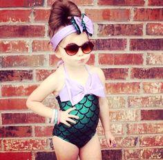 Little Girls Mermaid Swimsuit Purple Green Mermaid One Piece Kids Swimwear Headband Costume Bathing Suit