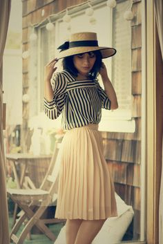 Pleated + striped