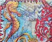 Graffiti Sea Horse  Original Mixed Media on Cradled Birch Pane 6x6 in-Sea Horse-fish art-art fish-sea horse painting-coastal art-beach-ocean