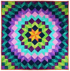 Here are free patterns for bargello quilts ! The bargello technique can be used to create backgrounds for applique, to showcase landscape pr. Flag Quilt, Star Quilts, Quilt Blocks, Quilt Boarders, Bargello Quilts, Batik Quilts, Scrappy Quilts, Easy Quilts, Minecraft
