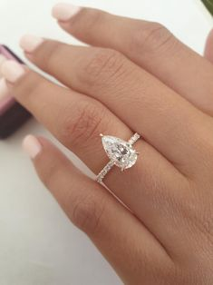 Pear Diamond Rings, Pear Shaped Diamond Ring, Pear Diamond Engagement Ring, Yellow Engagement Rings, Pear Shaped Engagement Rings, Engagement Ring Shapes, Oval Diamond, Pear Shaped Rings, 5 Carat Diamond Ring