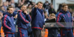 Manager Louis van Gaal of Manchester United watches from the touchline during the Barclays Premier League match between Tottenham Hotspur and Manchester United at White Hart Lane on April 10 2016 in London, England