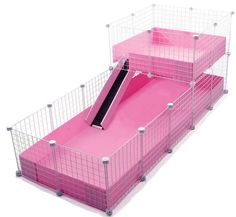 Pink XL C&C Cage with wide loft www.guineapigcagesstore.com