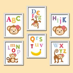 Bold Bright Colorful Alphabet Girl Monkey Theme Artwork Set of 6 Prints Wall Decor Abstract Art Bedroom Picture Child Nursery