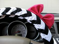 The Original Black and White Chevron Steering Wheel Cover with Matching Bright Brink Pink Bow on Etsy, $25.00