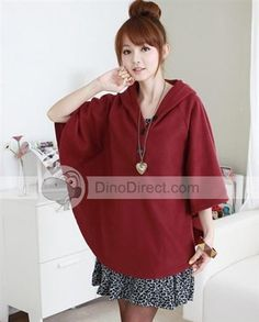 Qooeen™ Long Sleeve Hooded Solid Loose Cotton Women Poncho