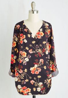 Elegant Epiphany Top in Navy Floral. One of the best days in your fashion history was when you realized this beautiful navy blouse could be worn for so many occasions. #blue #modcloth