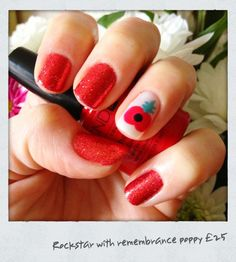 Remembrance day poppy nails