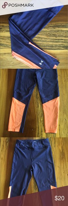 Under Armour Workout Leggings. Under Armour Leggings. Perfect Condition. Size XS. Navy and Orange. Under Armour Pants Leggings