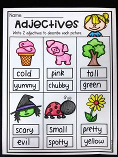 Grammar Worksheet Packet - Nouns, Adjectives and Verbs Worksheets - <img> English Worksheets For Kids, 1st Grade Worksheets, Phonics Worksheets, School Worksheets, Kindergarten Worksheets, Adjectives Activities, Nouns And Adjectives, Language Activities, Writing Activities