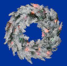 "48"""" Pre-Lit Flocked Alaskan Artificial Christmas Wreath - Multi Dura Lights"
