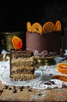 coffee cake with caramel coffee mascarpone blood orange filling and chocolate coffee ganache Coffee Dessert, Coffee Cake, Food Cakes, Cupcake Cakes, Cheesecake Cupcakes, Chocolate Coffee, Blood Orange, Cake Recipes, Caramel