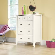 Sauder Shoal Creek 4-Drawer Chest, Soft White  Love this dresser too... could fit between two twin beds to share! (Cost: 165)