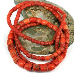 Antique Red Coral Trade Bead Strand - Long 45 Inch Strand