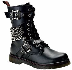 Just take leather strap, punch lace holes into it, then attach chains and place over regular boots.