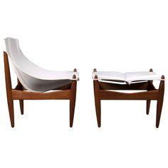 Denmark  Danish 1960's  Easy chair model 272 with accompanying footstool in teak with white saddle leather upholstery 'sling' by Illum Wikkelsø for C.F. Christensen.