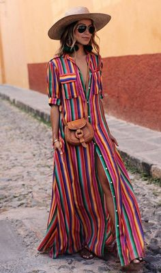 vacation outfit idea_hat   crossbody bag   striped maxi shirt dress