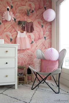 That flamingo wall! Baby Room Design, Baby Room Decor, Bedroom Decor, Flamingo Wallpaper, Kids Room Wallpaper, Cowgirl Room, Tropical Interior, Little Girl Rooms, Kids Bedroom