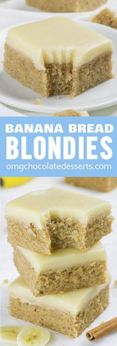 If you love banana bread but blondies as well, you must try this easy Banana Bread Blondies recipe. With sweet browned butter frosting they are over the top! home Banana Bread Blondies Dessert Chef, Dessert Aux Fruits, Breakfast Dessert, Yummy Breakfast Ideas, Appetizer Dessert, Health Breakfast, Appetizer Recipes, Coconut Dessert, Oreo Dessert