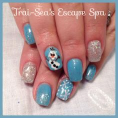 """Disney's Frozen """"Olaf"""" hand painted by  www.traiseasescapespa.com so cute!!!"""