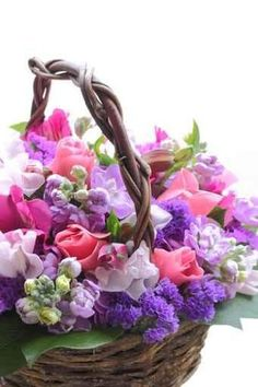 Purple Flower Arrangement in a Basket