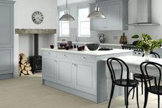 Wren kitchen design - handle less in periwinkle blue Wren Kitchen, Big Kitchen, Home Decor Kitchen, Kitchen Dining, Kitchen Cabinets, Kitchen Ideas, Kitchen White, Grey Cabinets, Free Kitchen Design