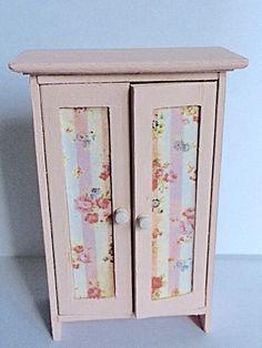 Dollhouse half scale pink wooden wardrobe by Londondollshouses