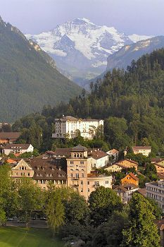Tourist attractions in the Bernese Oberland, Switzerland - view of the Jungfrau from downtown Interlaken