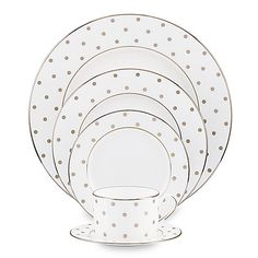 The sassy polka dot patterns on this dinnerware impart a bit of whimsy. The platinum accents make it grand.