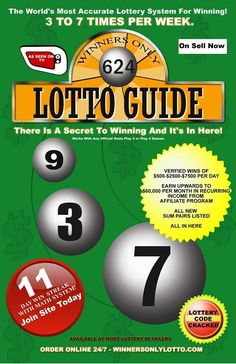 $10,000,000 Million Dollars Paid Out Daily From State Ran Lotteries    Mathematical Secret To Winning The Lottery!    Get Your Copy Of This Book Today!    Learn How To Win The Lottery Up To 7 Times Per Week. Using The Law of Averages, The Science of Numbers And Our Computer Algorithm!    Verified Wins from $250 - $500 - $2500 - $7500 even $27,000 In A Day.    500% To 5000% Return Everyday.    Small Investment Huge Profits.    Money Back Guarntee     For Info Click Here…