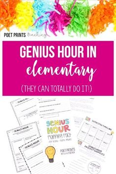 Elementary students can totally do Genius Hour! Read about how my first year of time failed (just a little) and the changes I made to make it successful. Inquiry Based Learning, Project Based Learning, Elementary Teacher, Upper Elementary, 5th Grade Classroom, Classroom Ideas, Future Classroom, Genius Hour, Presentation Skills