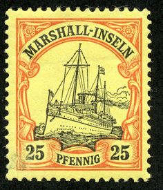 Marshall Islands – 1901 Scott 17 25pf orange & black/yellow