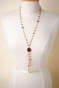 Sap007N Unique handcrafted designer druzi gemstone crystal long pendant dangle necklace for women