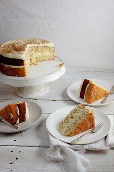 Milk Tart Layer Cake ~ A Vanilla-Cinnamon Sponge Cake with Milk Custard Filling and Cookie Crumble.