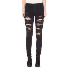 Alice + Olivia Jane Embellished & Distressed Skinny Jeans ($498) ❤ liked on Polyvore featuring jeans, black, women's apparel jeans, skinny fit jeans, destructed jeans, distressed skinny jeans, ripped jeans and denim skinny jeans