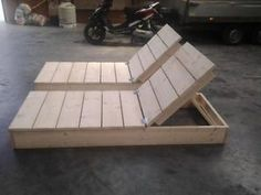 Scaffolding furniture made of wood Deck chair Scaffold Wooden bed New!