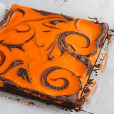 Dress up your brownies for Halloween by adding an orange cream cheese swirl!! Fun and easy...
