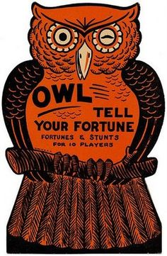 Vintage owl-themed Halloween fortune-telling game.