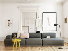 Buy Muuto Around Coffee Table Grey Online. Select From Our Huge, Scandinavian, Modern, Muuto Range. Modul Sofa, Gray Sofa, Neutral Couch, Charcoal Couch, Grey Sectional, Interior Design Inspiration, Workspace Inspiration, Room Inspiration, Design Ideas