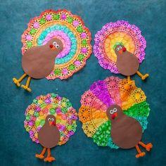 Doily Thanksgiving Turkey - Do-A-Dot Art