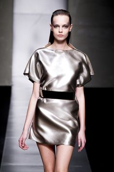Spring 2012 Silver Grey Mini Dress With Wide Short Sleeves And Boat Neck.  - Wide sleeve which usually hangs loose from the shoulder.  - Wide neckline that runs horizontally, front and back, almost to the shoulder points, across the collarbone