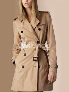 Khaki Double-Breasted Cotton Blend Woman's Outerwear - Milanoo.com
