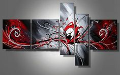 Large Red Black Grey Abstract Canvas Picture Wall Art Split Multi 5 Panels Set