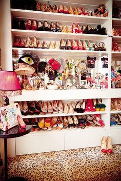 Charlotte Dellal's shoe closet (Charlotte Olympia) taken from L'Officiel magazine