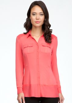 Contrast Button Up Blouse - Calypso Coral - Xs