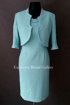 Mother Of The Bride Groom 2 Piece Formal Outfit Dress Turquoise Green size 14