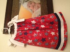 4 th of July pillow case dress.  Made just in time!
