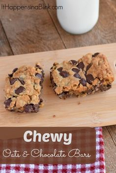 Chewy Oats and Chocolate Bars #sponsored   The Dark Chocolate Morsels with Cherry Flavored Filling add a sweet surprise to these treat bars