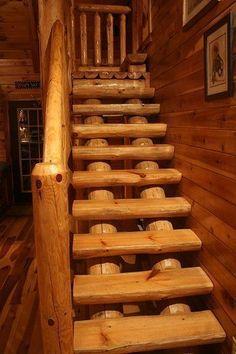 So pretty! Full Log stairs in Lovers Loft Hocking Hills Ohio Rental Cabin #LogCabinHomes #LogHomes #LogFurniture
